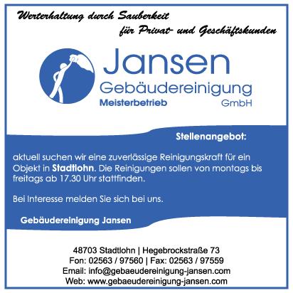 Stellenausschreibung Stadtlohn Geb 228 Udereinigung Jansen
