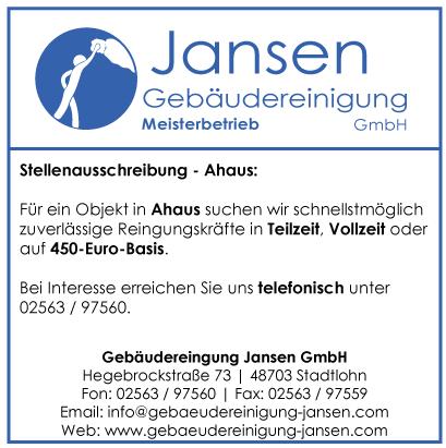 Stellenausschreibung Ahaus | Reinigungskraft | Gebäudereinugng Jansen Stadtlohn