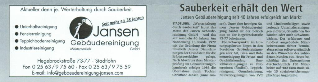Die Gebäudereinigung Jansen GmbH in der Münsterland Zeitung