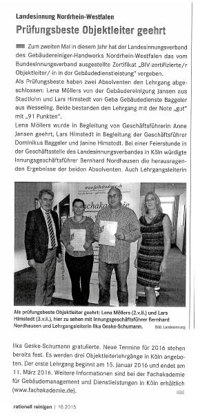 Gebäudereinigung Jansen | Lena Möllers in rationell reinigen Ausgabe 10 2015
