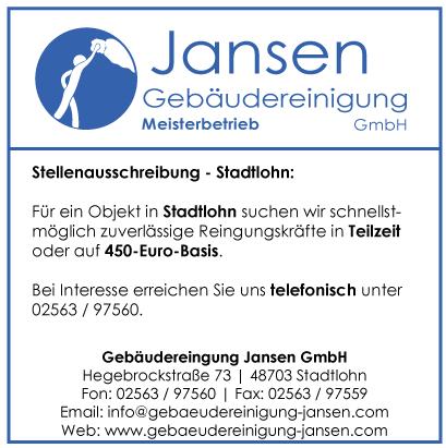 Gebäudereinigung Jansen | Stadtlohn | Stellenausschreibung Stadtlohn